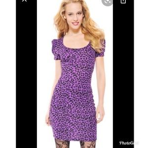 Betsey Johnson Puffed Sleeve Leopard Dress